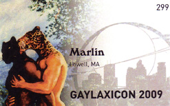 Marlin May's name tag, #299, from Gaylaxicon 2009 in Minneapolis, MN